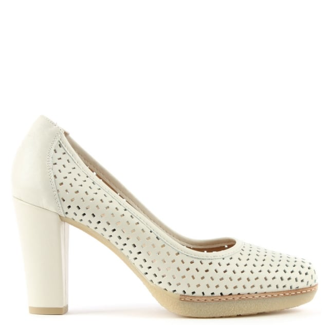 Dessie White Leather Laser Cut Court Shoe