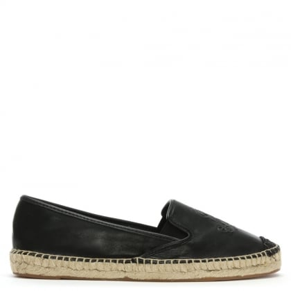 Destini Black Leather Espadrilles