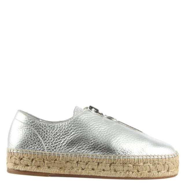 Devon Silver Leather Espadrille Sneaker