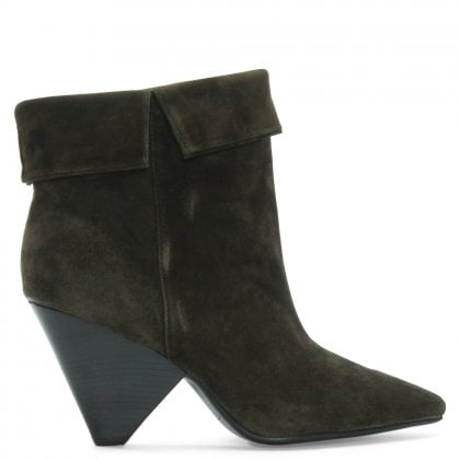 Dewing Khaki Suede Pointed Ankle Boots