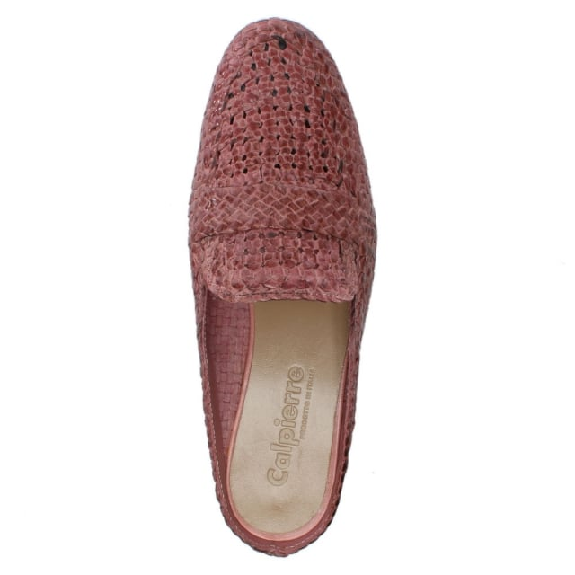 352039c0a0a Calpierre Dhaka Pink Leather Woven Backless Loafers