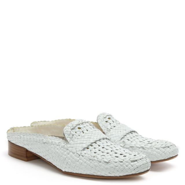 614de9a32d1 Calpierre Dhaka White Leather Woven Backless Loafers