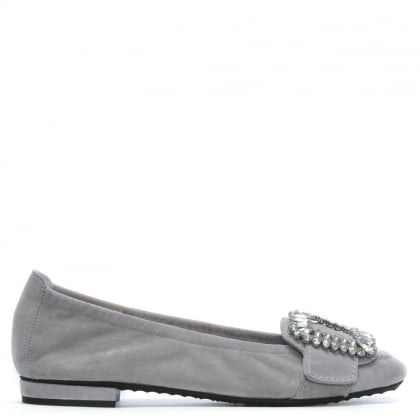 Diamante Embellished Grey Suede Ballet Flats