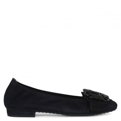 Diamante Embellished Navy Suede Ballet Flats
