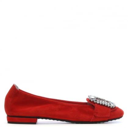 Diamante Embellished Red Suede Ballet Flats