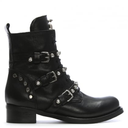 Diamboot Black Leather Biker Boots