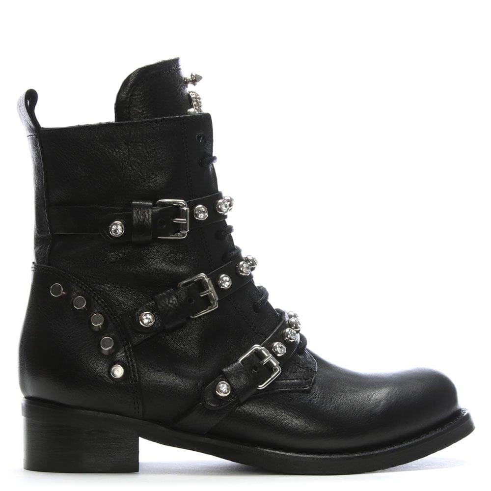 Daniel Diamboot Black Leather Biker Boots