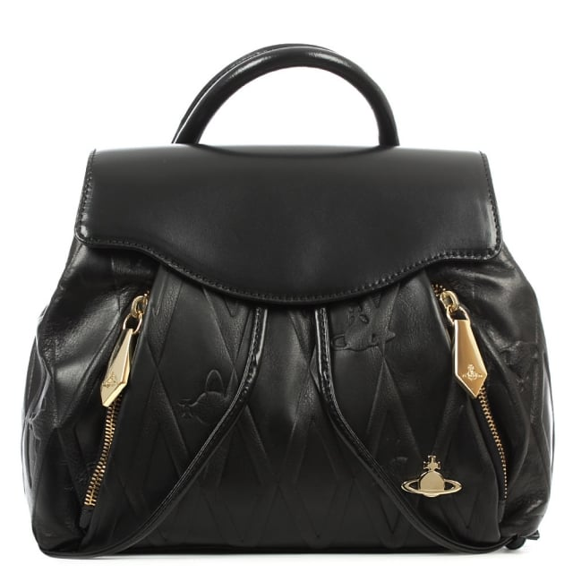 Diamond Orb Black Leather Backpack
