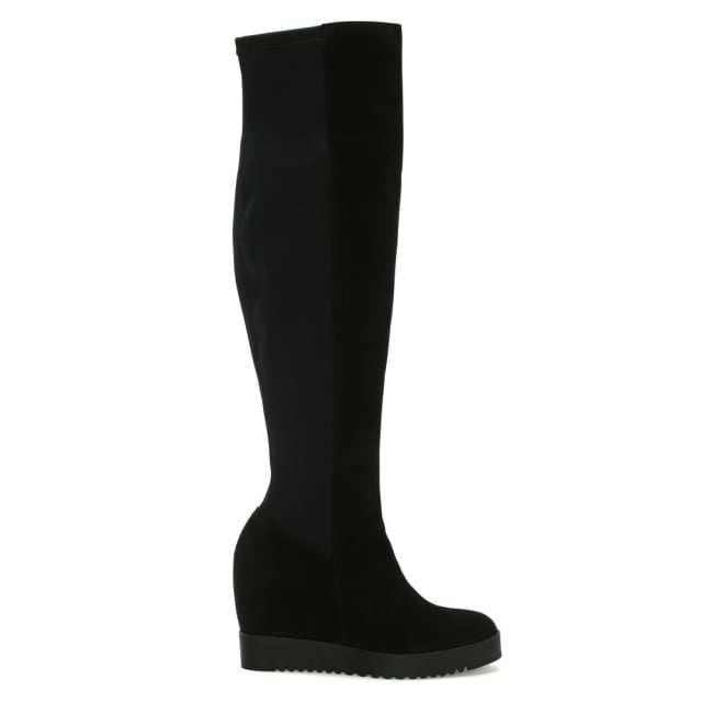 Diggidy Black Suede Over The Knee Wedge Boots