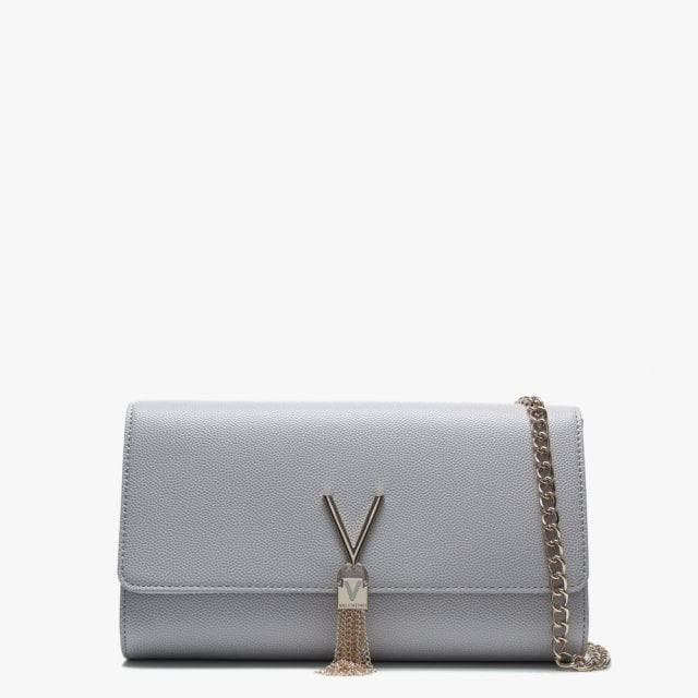 1bff92fa7d122 Valentino By Mario Valentino Divina Grey Pebbled Clutch Bag