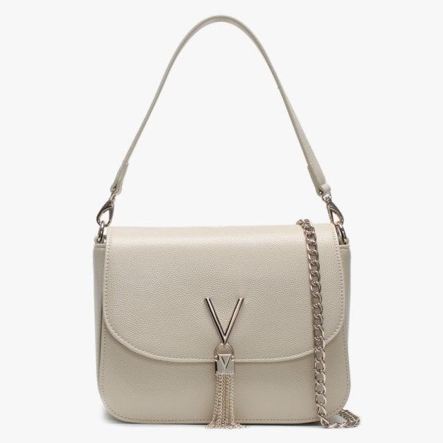 77d4ff4261d01 Valentino By Mario Valentino Divina Large Beige Pebbled Shoulder Bag