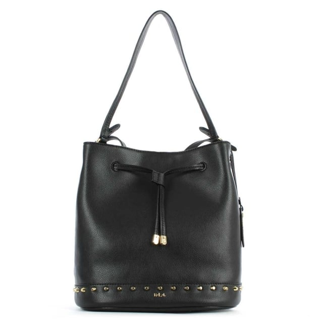 Dixon Studded Black Leather Drawstring Bucket Bag