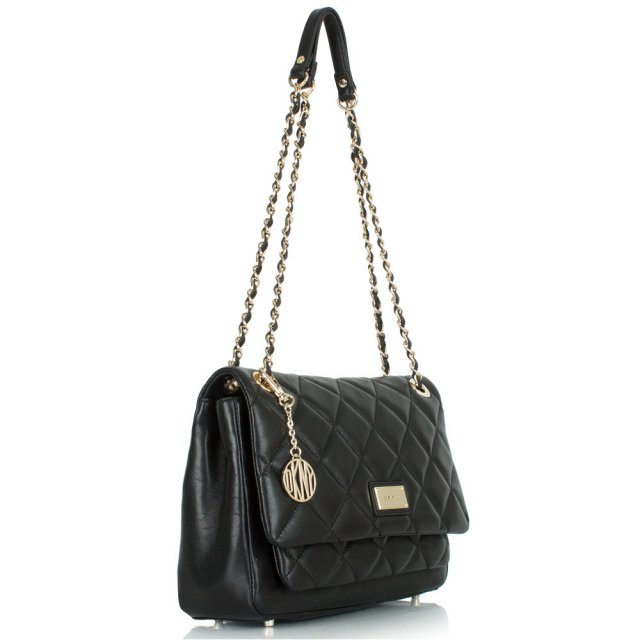 d3f3f274cb DKNY Black Leather Harry Quilted Crossbody Bag