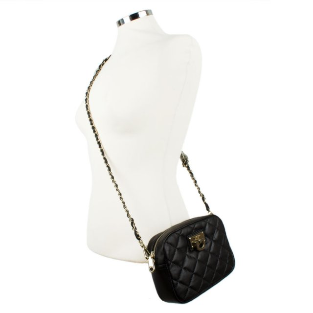 d5faff2fcd DKNY Kandy 81 Black Leather Small Quilted Crossbody Bag
