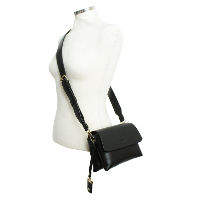376fd07394 DKNY Laura Black Leather Mini Front Flap Wide Strap Cross-Body Bag