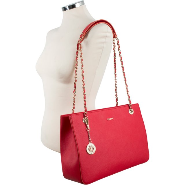 DKNY Red Saffiano Leather R3413011 Medium Adjustable Chain Tote Bag d717722c0287