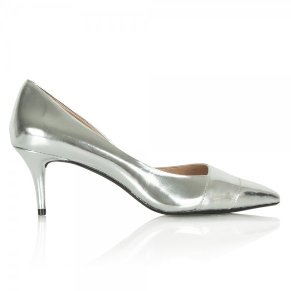 DKNY Silver Metallic Mid Heeled Padme Court Shoe