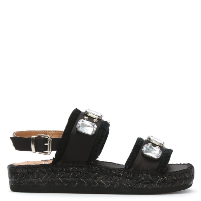 Doha Black Two Bar Embellished Espadrilles