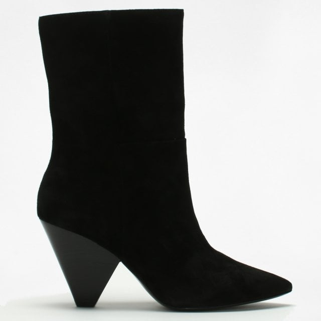 061ba41c327 Ash Doll Black Suede Cone Heel Ankle Boots