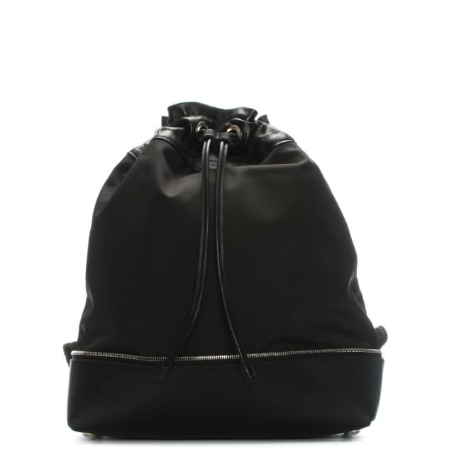 Robert Clergerie Doly Black Leather & Canvas Drawstring Backpack