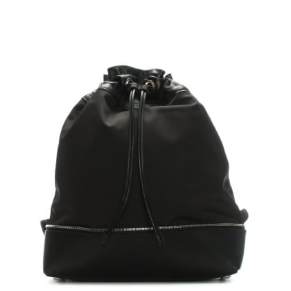 Doly Black Leather & Canvas Drawstring Backpack