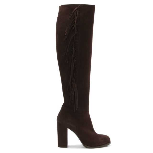 Dombey Brown Suede Over The Knee Fringed Boot