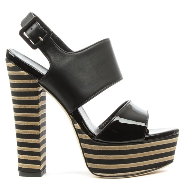 Dominga Black Patent Leather Striped Platform Sandal