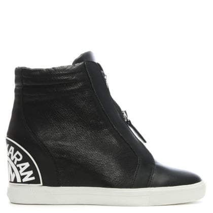Donnie Black Leather Wedge High Top Trainers