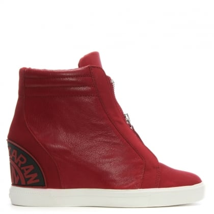 Donnie Red Leather Wedge High Top Trainers