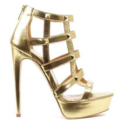 Doretea Gold Leather Studded Platform Sandal