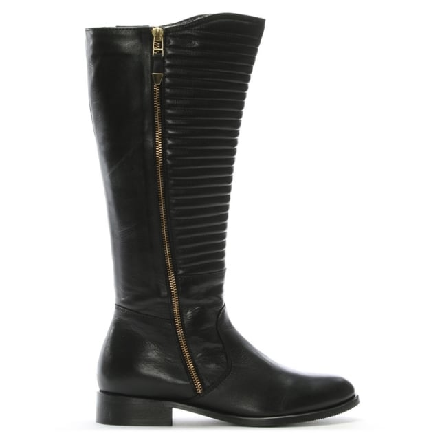 DF By Daniel Dorford Black Leather Quilted Riding Boots