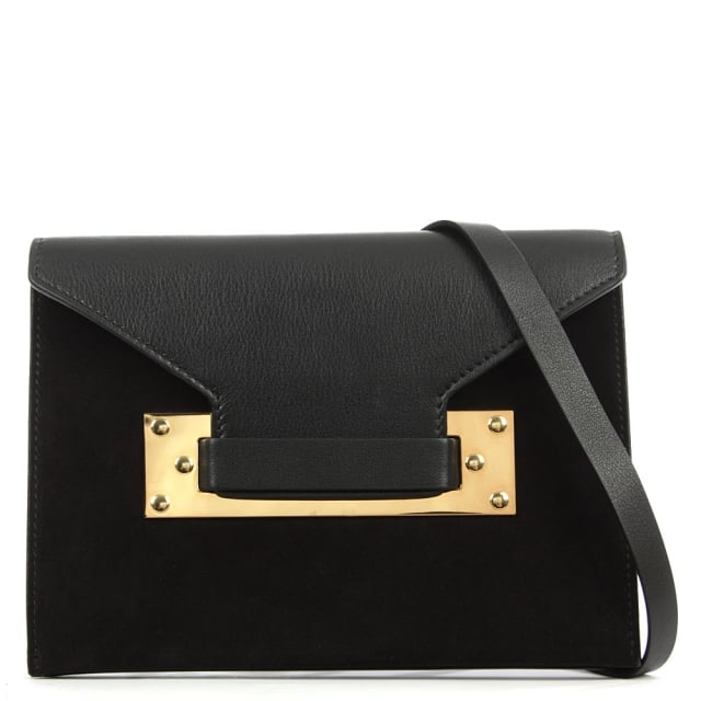 Double Milner Black Suede Enverlope Bag