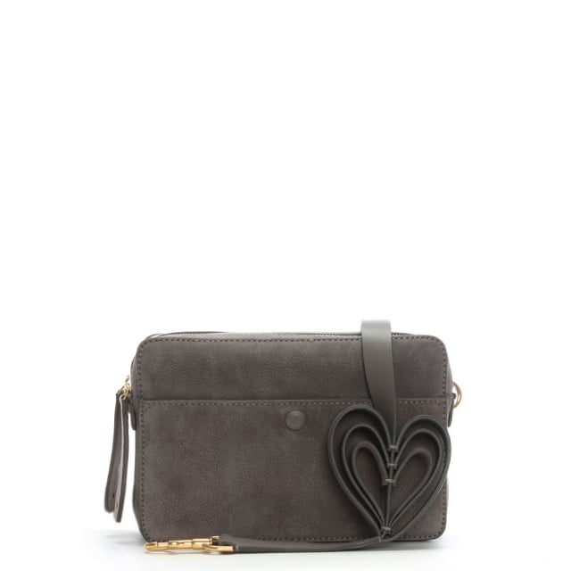 Double Stack Taupe Leather Heart Cross-Body