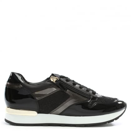 Double Zip Black Patent Leather Lace Up Trainers