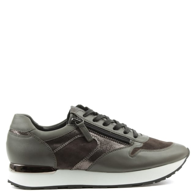 Double Zip Grey Leather Lace Up Trainer