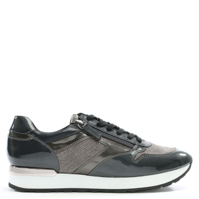 Double Zip Grey Patent Leather Lace Up Trainers