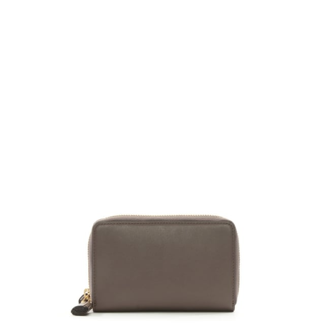 Double Zip Taupe Leather Wallet