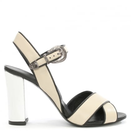 Drew White Leather Silver Heel Sandal