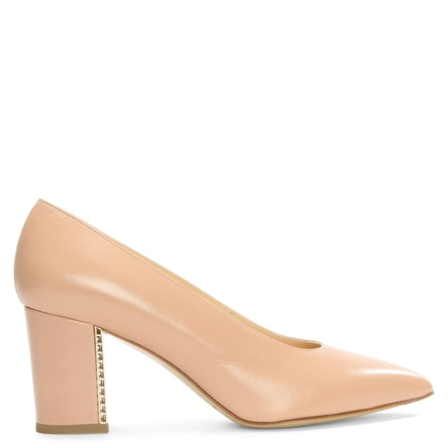 Dries Nude Leather Cage Heel Court Shoe