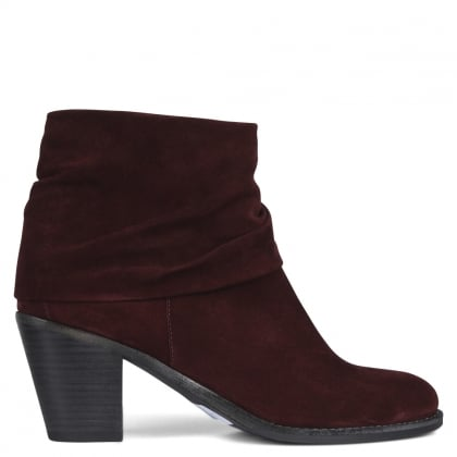 Dumaurier Burgundy Suede Ankle Boots