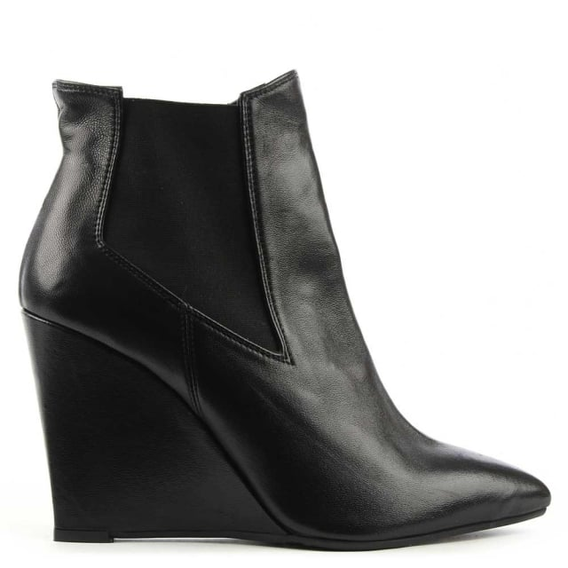 Dunleer Black Leather Pointed Toe Wedge Ankle Boot