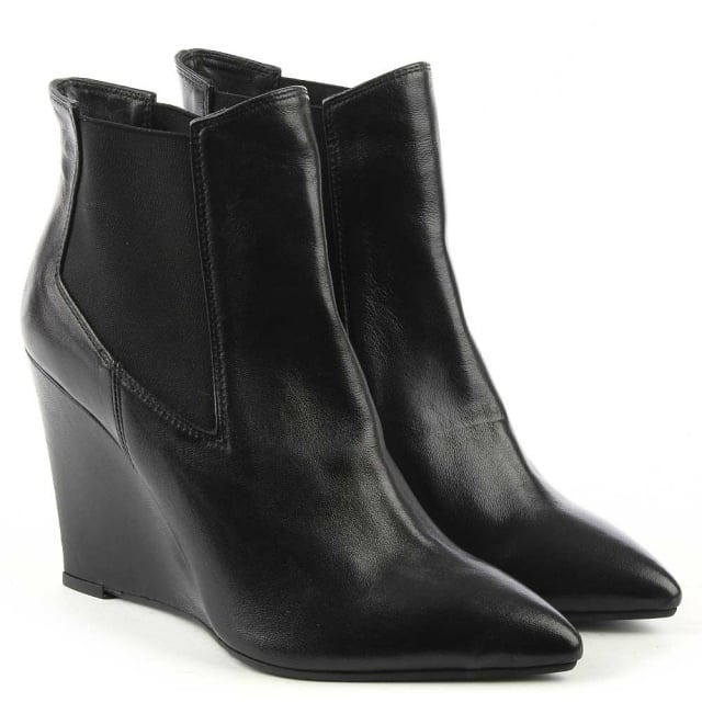 69b4b64e6748 Dunleer Black Leather Pointed Toe Wedge Ankle Boot