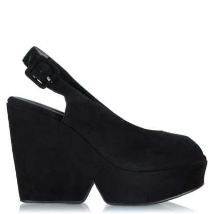 Dylank Black Suede Wedge Slingback