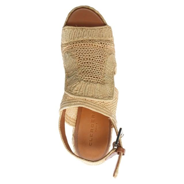 3de3d064d39 Clergerie Dypaille Beige Raffia Platform Sandals