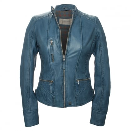 Each Blue Leather Biker Jacket