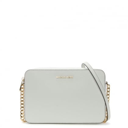 East West Large Optic White Saffiano Leather Cross-Body Bag