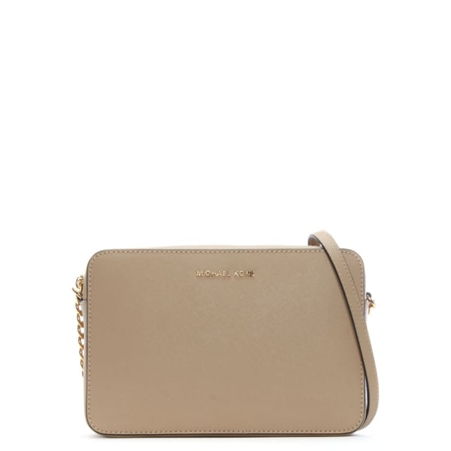 East West Large Oyster Saffiano Leather Cross-Body Bag