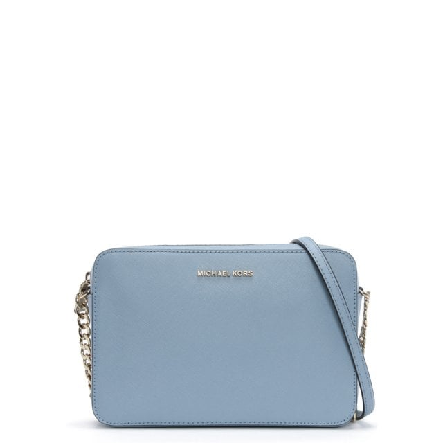 East West Large Pale Blue Saffiano Leather Cross-Body Bag