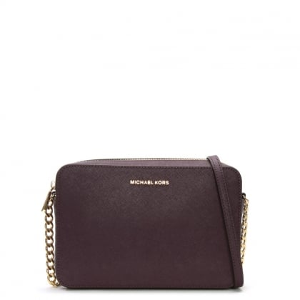 East West Large Saffiano Damson Leather Cross-Body Bag