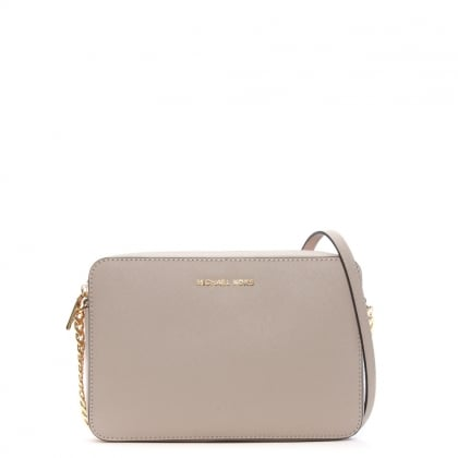 East West Large Soft Pink Saffiano Leather Cross-Body Bag